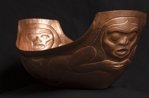 "Journey, sculpture, by Brian Walker, 2015, copper, 6.5"" x 10 .25"" x 16.5"" , Yukon Permanent Art Collection"