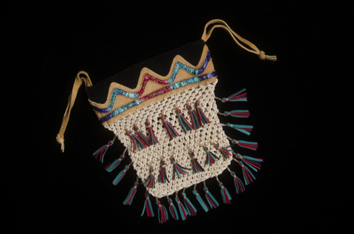 """Yukon Permanent Art Collection 2016, Tourism and Culture, Arts Branch Artist: Florence Moses Title: Night Fishing at Ta Kwan Te Mun Genre: Beadwork/fine craft Year: 2015 List of Materials: Smoke tanned moosehide, leather, copper & crystal delica beads, dyed porcupine quills, sinew Dimensions: 14.5"""" x 11.5"""" x .75"""""""