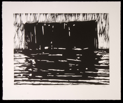 "Yukon Permanent Art Collection 2016, Tourism and Culture, Arts Branch Artist: Hildur Jónasson Title: Black Island Genre: Painting Year: 2014 List of Materials: One colour Van Son Holland ink on Arches rag archival quality paper, matrix is carved out of Komatex Dimensions: 11"" x 15"" image, 15"" x 18"" paper size"