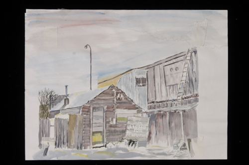 """Yukon Permanent Art Collection 2016, Tourism and Culture, Arts Branch Artist: Palma Burger Title: Beyond the Parking Lot Genre: Painting Year: 2008 List of Materials: Watercolour on paper Dimensions: Outside frame 17"""" x 16.75""""; inside matte 7.5""""x7.5"""""""