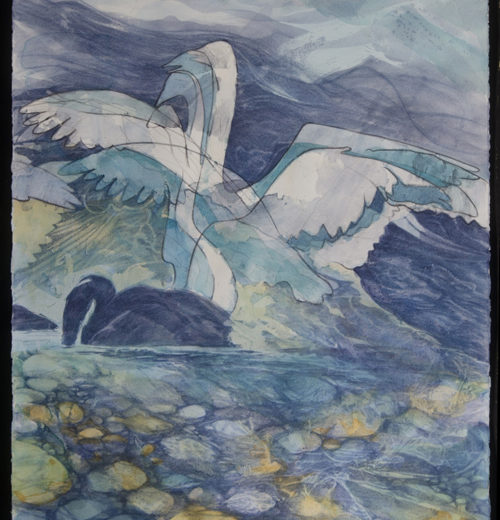 "Yukon Permanent Art Collection 2016, Tourism and Culture, Arts Branch Artist: Joyce Majiski Title: Swan Diptych  Genre: Mixed Media Year:  List of Materials: Acrylic and coloured pencil on paper Dimensions: 22"" x 30"" and 22"" x 30"""
