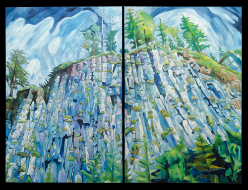 "Yukon Permanent Art Collection 2016, Tourism and Culture, Arts Branch Artist: Neil Graham Title: Tow Hill  Genre: Painting Year: 2015 List of Materials: Oil on Canvas Dimensions: 66"" x 88"" x 1.5"" Diptych (right panel)"