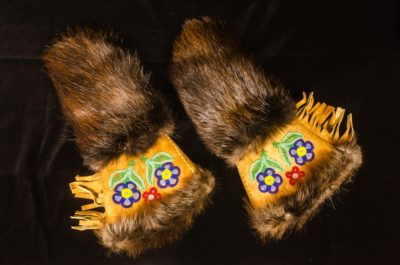 Yukon Permanent Art Collection 2017, Tourism and Culture, Arts Branch Artist: Gertie Tom Title: Men's Mitts Year: Materials: Moosehide, Beaver fur, beads Dimensions: