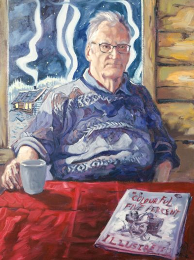 "Yukon Permanent Art Collection 2017, Tourism and Culture, Arts Branch Artist: Halin de Repentigny Title: The Colourful Five Percent, Portrait of Jim Robb Year: Materials: Oil on canvas Dimensions: 40"" x 30"" x 1"""