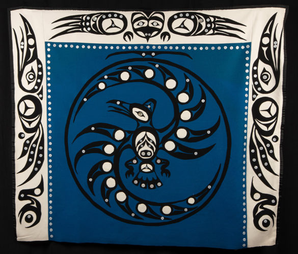 A textile artwork by Yukon artist Theodore Jim. Part of the Yukon Permanent Art Collection, a collection representing Yukon artists and art.