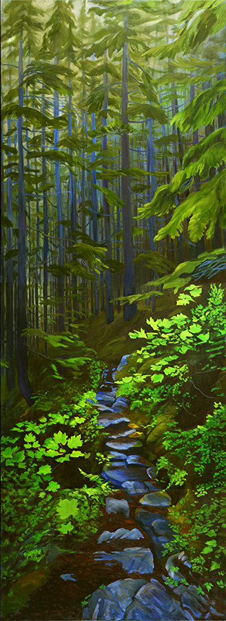 An oil painting of the Chilkoot trail in the Coast Forest by Yukon Artist Daphne Mennell. Part of the Yukon Permanent Art Collection.
