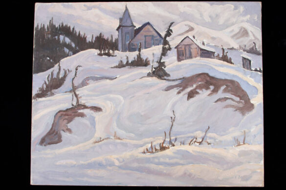 Church at Bennett Lake painted by Yukon Artist Maurice Haycock