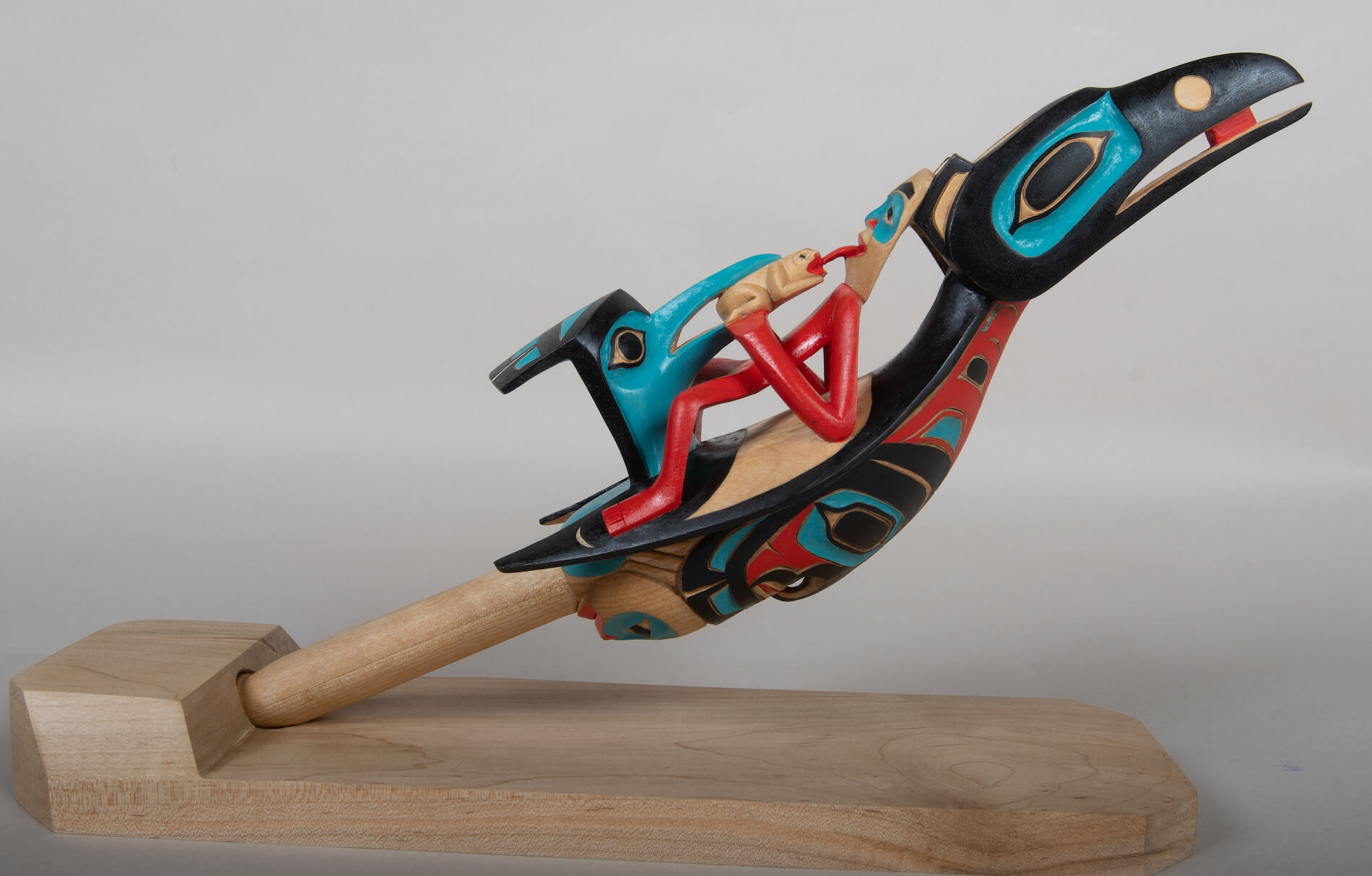 Chiefs Raven Rattle is a carving by Yukon Artist Eugene Alfred