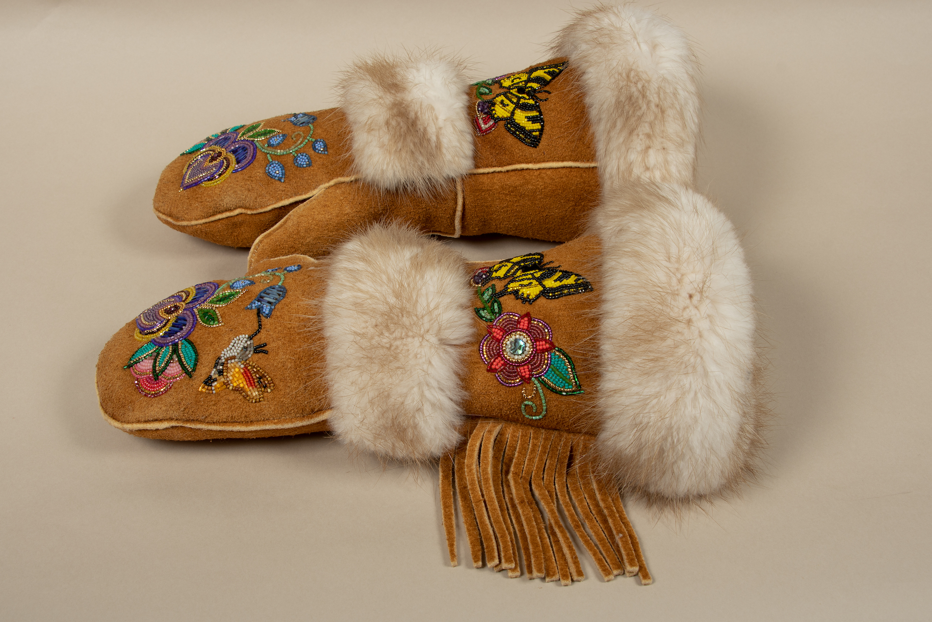 Vashti Etzel Matriarch Gloves made from Home tanned moose hide and porcupine quills