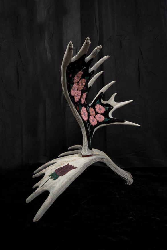 Beaded moose antlers by Yukon Artist Teresa Vander Meer-Chassé
