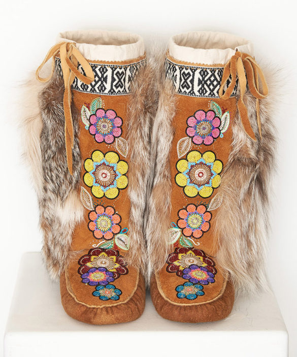 Moose hide mukluks by Yukon Artist Karrie Brown