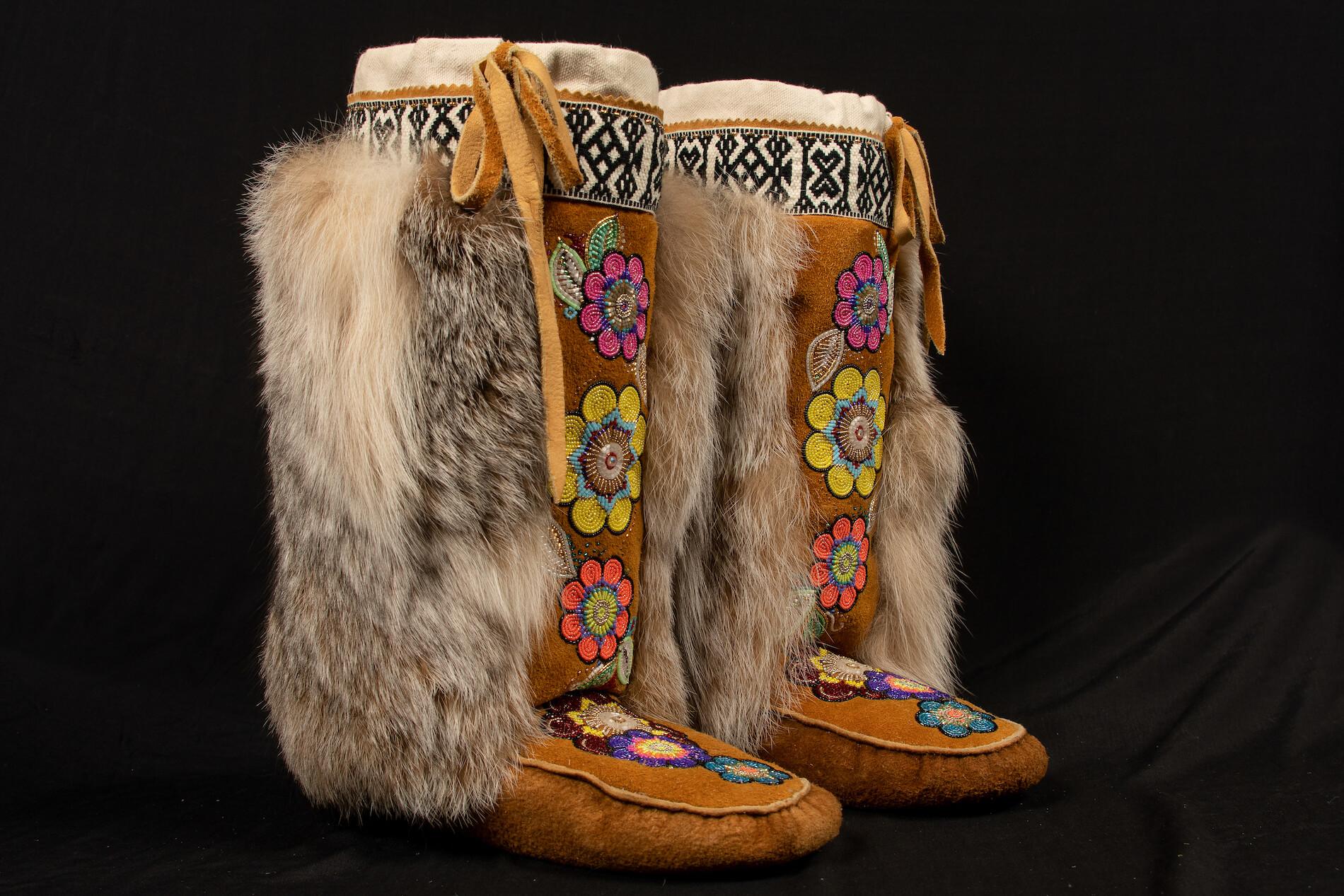 Karrie Brown Yukon Artist Beadwork Moosehide Mukluks